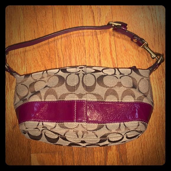 Coach mini purse with purple leather trim